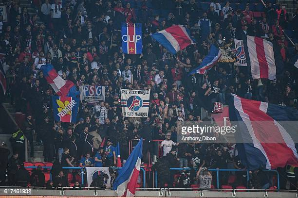 Ultras of PSG Before the Ligue 1 match between Paris Saint Germain and Marseille at Parc des Princes on October 23 2016 in Paris France