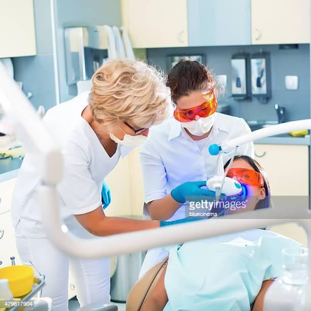 Ultraviolet light procedure at dentist office