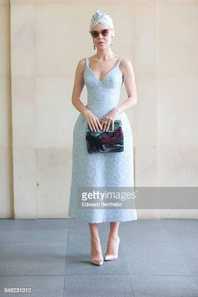 Ulyana Sergeenko after the Elie Saab show during Paris Fashion Week Haute Couture F/W 2016/2017 on July 6 2016 in Paris France