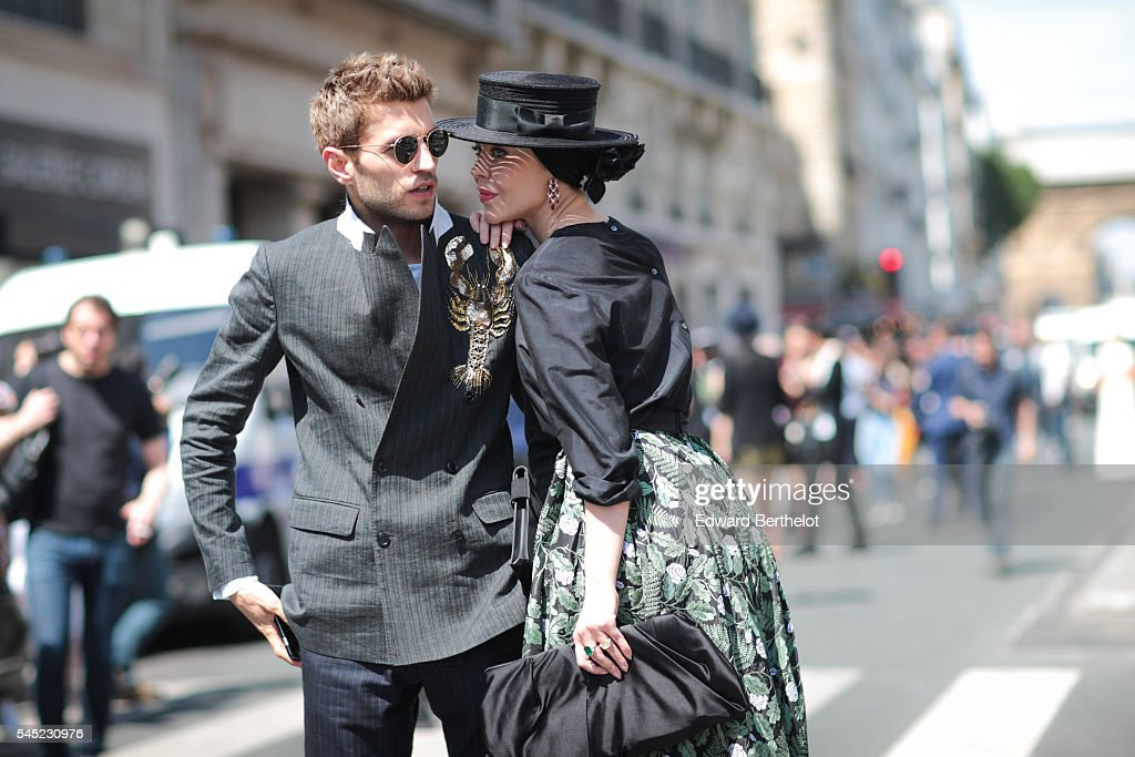 Ulyana Sergeenko and Frol Burimskiy after the Jean Paul Gaultier show during Paris Fashion Week Haute Couture F/W 2016/2017 on July 6 2016 in Paris...