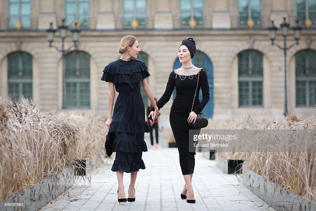 Ulyana Sergeenko and Lidia Metelskaya during Paris Fashion Week Haute Couture F/W 2016/2017 on July 5 2016 in Paris France