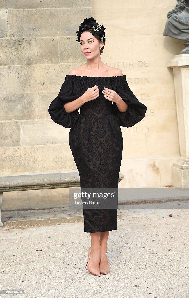 Ulyana Sergeenko arrives at the Elie Saab show during Paris Fashion Week Womenswear SS 2015 on September 29 2014 in Paris France