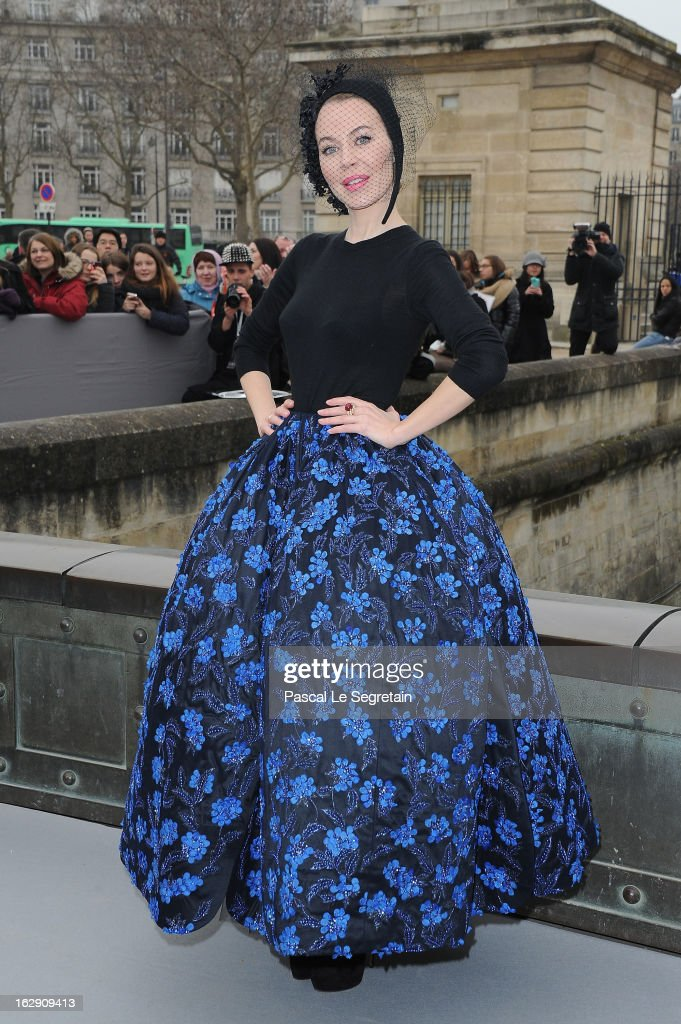 Ulyana Sergeenko arrives to attend the Christian Dior Fall/Winter 2013 Ready-to-Wear show as part of Paris Fashion Week on March 1, 2013 in Paris, France.