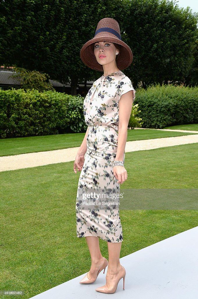 Ulyana Sergeenko attends the Christian Dior show as part of Paris Fashion Week Haute Couture Fall/Winter 20142015 on July 7 2014 in Paris France