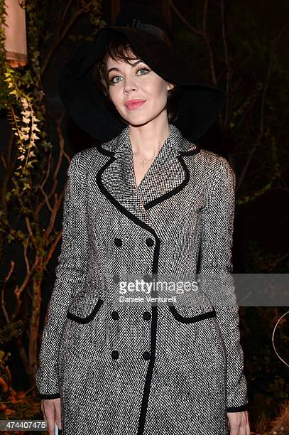 Ulyana Sergeenko attends the Dolce Gabbana show as part of Milan Fashion Week Womenswear Autumn/Winter 2014 on February 23 2014 in Milan Italy