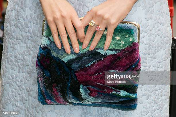 Ulyana Sergeenko clutch bag detail attends the Elie Saab Haute Couture Fall/Winter 20162017 show as part of Paris Fashion Week on July 6 2016 in...