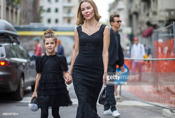 Ulyana Sergeenko daughter Vasilisa Khachaturova during Milan Fashion Week Spring/Summer 16 on September 27 2015 in Milan Italy