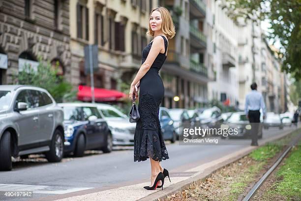 Ulyana Sergeenko during Milan Fashion Week Spring/Summer 16 on September 27 2015 in Milan Italy