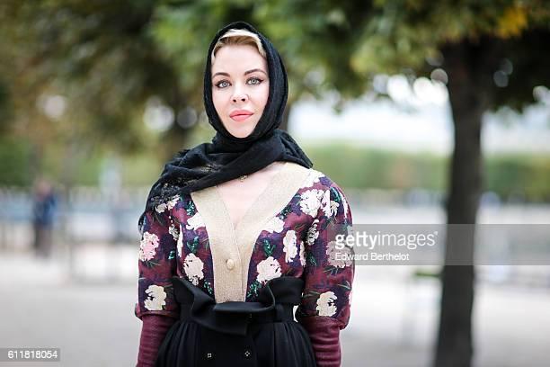 Ulyana Sergeenko is attending the Elie Saab show during Paris Fashion Week Spring Summer 2017 at the Tuileries garden on October 1 2016 in Paris...