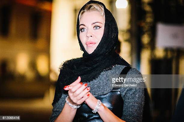 Ulyana Sergeenko is seen outside the Givenchy show during Paris Fashion Week Spring Summer 2017 at the Jardin des Plantes on October 2 2016 in Paris...