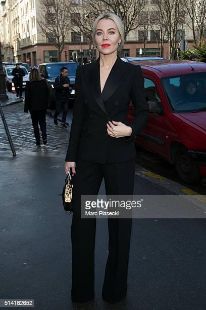 Ulyana Sergeenko leaves the 'Giambattista Valli' fashion show on March 7 2016 in Paris France