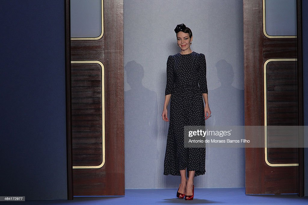 Ulyana Sergeenko walks the runway during Ulyana Sergeenko show as part of Paris Fashion Week Haute Couture Spring/Summer 2014 on January 21, 2014 in Paris, France.