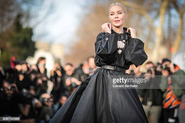 Ulyana Sergeenko wearing a Ulyana Sergeenko dress after the Dior show during Paris Fashion Week Haute Couture Spring Summer 16 on January 25 2016 in...