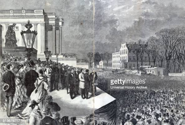 Ulysses S Grant and Schuyler Colfax taking the oath of office administered by Chief Justice Salmon P Chase on the east portico of the US Capitol in...