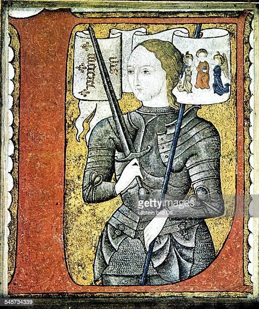 um 1411 30051431 Jungfrau von Orleans Heilige JohannaParteigängerin Karls VII Porträt in RüstungMiniatur auf Pergament 2 Hälfte 15Jahrhundert