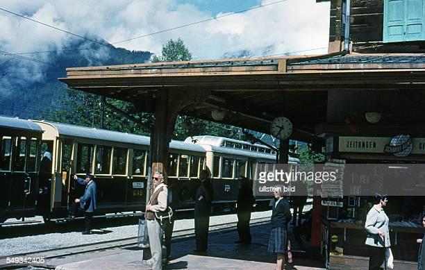 CH um 1966 Bahnhof Wengen im Berner Oberland
