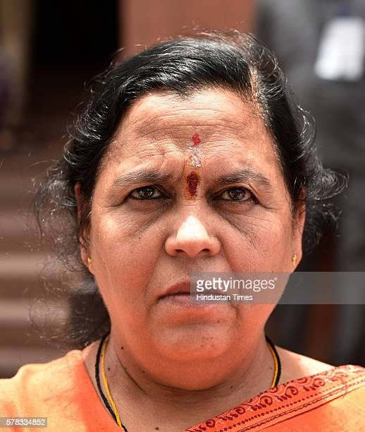 Uma Bharti Cabinet Minister for Water Resources River Development and Ganga Rejuvenation at Parliament during the Monsoon Session on July 21 2016 in...