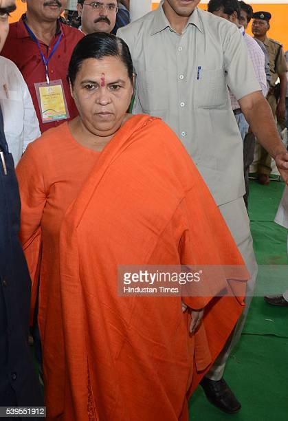 Uma Bharti Minister of Water Resources during the party's national executive meeting on June 12 2016 in Allahabad India The national executive meet...