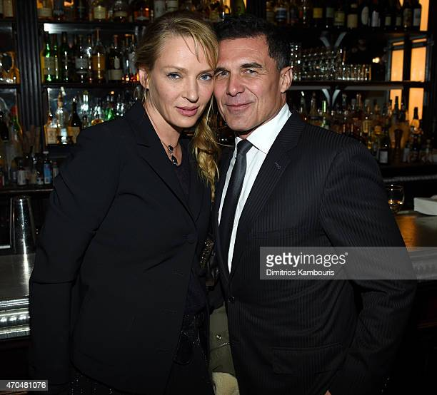 Uma Thurman and Andre Balazs attend the 2015 Tribeca Film Festival CHANEL Artists Dinner at Balthazer on April 20 2015 in New York City