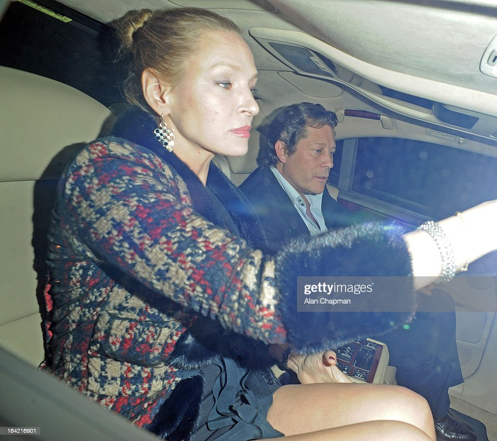 <a gi-track='captionPersonalityLinkClicked' href=/galleries/search?phrase=Uma+Thurman&family=editorial&specificpeople=171973 ng-click='$event.stopPropagation()'>Uma Thurman</a> and <a gi-track='captionPersonalityLinkClicked' href=/galleries/search?phrase=Arpad+Busson&family=editorial&specificpeople=2326600 ng-click='$event.stopPropagation()'>Arpad Busson</a> sighting leaving Loulou's on March 20, 2013 in London, England.