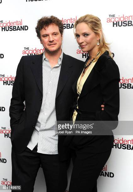 Uma Thurman and Colin Firth arrive for the UK premiere of The Accidental Husband at the Vue Cinema in Leicester Square London