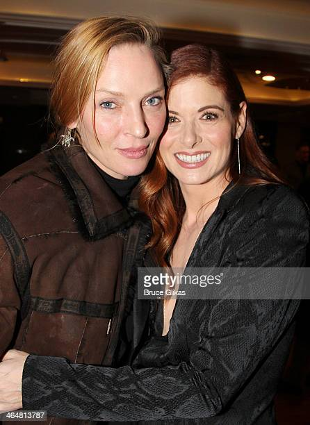 Uma Thurman and Debra Messing attend the after party for the Broadway opening night of 'Outside Mullingar' at The Copacabana on January 23 2014 in...
