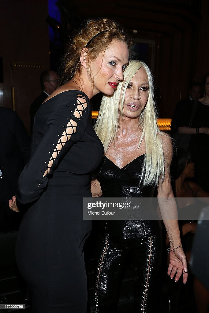 <a gi-track='captionPersonalityLinkClicked' href=/galleries/search?phrase=Uma+Thurman&family=editorial&specificpeople=171973 ng-click='$event.stopPropagation()'>Uma Thurman</a> and Donatella Versace backstage after the Versace show as part of Paris Fashion Week Haute-Couture Fall/Winter 2013-2014 at on June 30, 2013 in Paris, France.