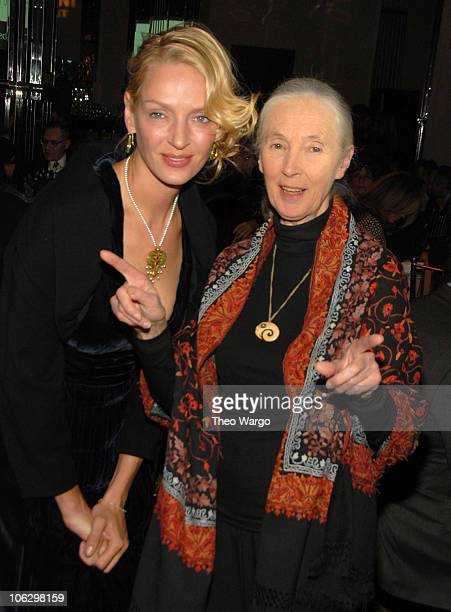 Uma Thurman and Dr Jane Goodall during 2007 Wings WorldQuest Woman of Discovery Presentation at Cipriani in New York City New York United States