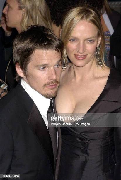 Uma Thurman and Ethan Hawke arriving at the Vanity Fair post Oscars party held at the Morton's restaurant in Los Angeles 05/03/04 Ethan Hawke who...