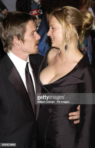 Uma Thurman and Ethan Hawke arriving at the Vanity Fair post Oscars party held at the Morton's restaurant in Los Angeles