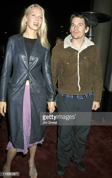 Uma Thurman and Ethan Hawke during 2000 Miramax PreOscar Party at Beverly Wilshire Hotel in Beverly Hills California United States