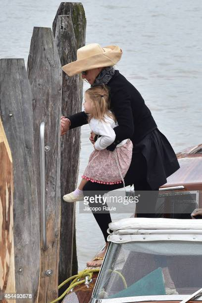 Uma Thurman and her daugther Luna are seen during The 71st Venice International Film Festival on September 2 2014 in Venice Italy