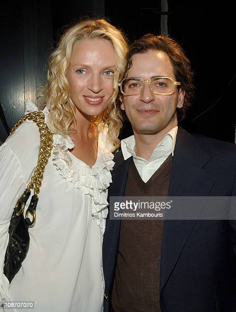Uma Thurman and Marc Jacobs during Olympus Fashion Week Spring 2006 Marc Jacobs Front Row and Backstage at NY State Armory in New York City New York...
