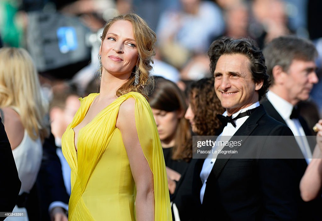 Uma Thurman and producer Lawrence Bender attend the 'Clouds Of Sils Maria' premiere during the 67th Annual Cannes Film Festival on May 23, 2014 in Cannes, France.