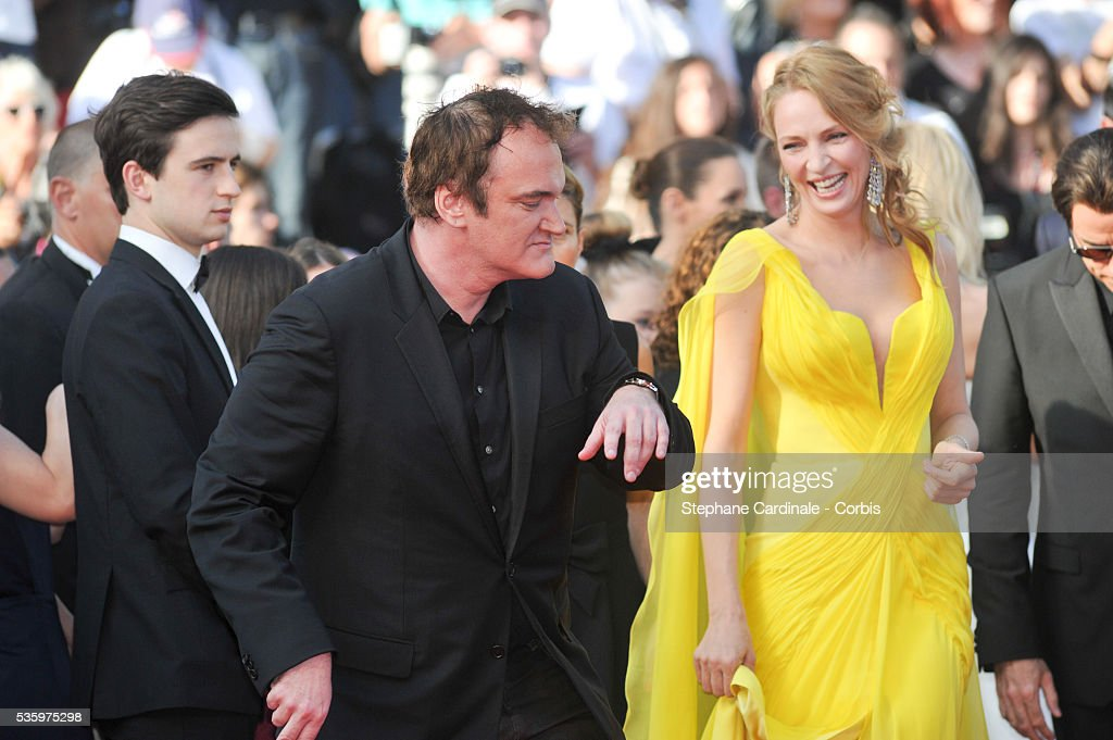 Uma Thurman and Quentin Tarantino at the 'Clouds Of Sils Maria' Premiere at the 67th Annual Cannes Film Festival