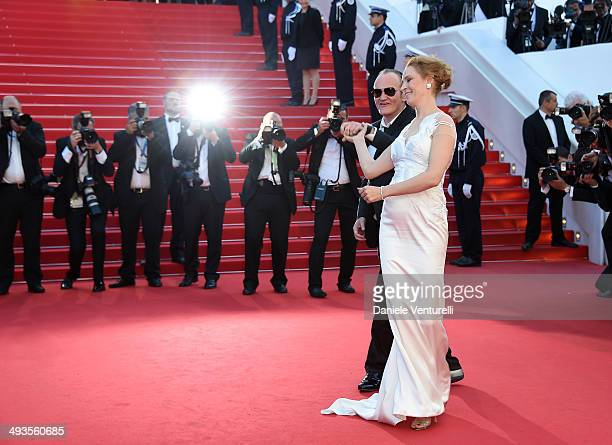 Uma Thurman and Quentin Tarantino attend the Closing Ceremony and 'A Fistful of Dollars' Screening during the 67th Annual Cannes Film Festival on May...