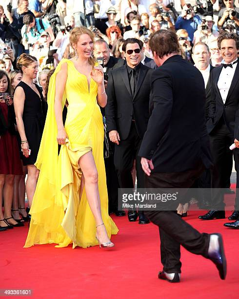 Uma Thurman and Quentin Tarantino attend the 'Clouds Of Sils Maria' Premiere at the 67th Annual Cannes Film Festival on May 23 2014 in Cannes France