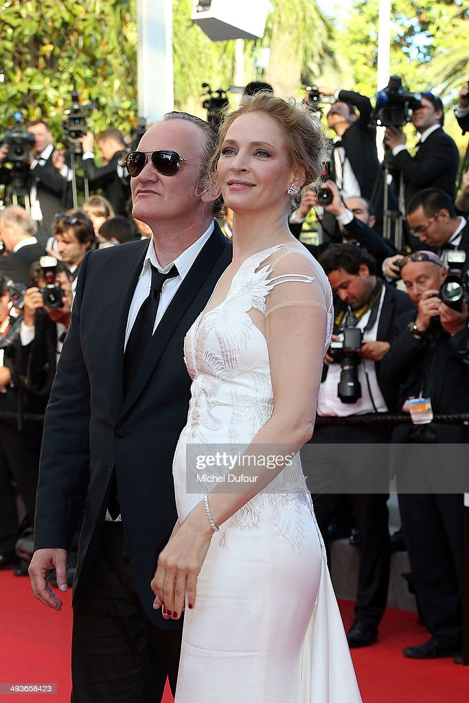 Uma Thurman and Quentin Tarentino attend the Closing ceremony and 'A Fistful of Dollars' screening at the 67th Annual Cannes Film Festival on May 24, 2014 in Cannes, France.