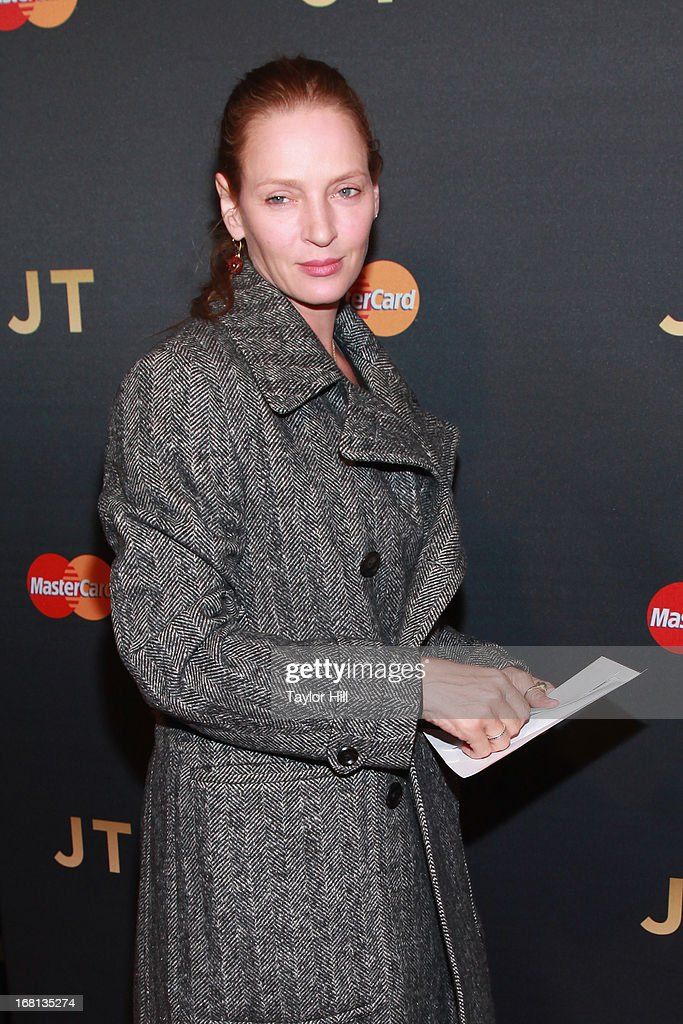 <a gi-track='captionPersonalityLinkClicked' href=/galleries/search?phrase=Uma+Thurman&family=editorial&specificpeople=171973 ng-click='$event.stopPropagation()'>Uma Thurman</a> arrives at MasterCard Priceless Premieres presents Justin Timberlake at Roseland Ballroom on May 5, 2013 in New York City.