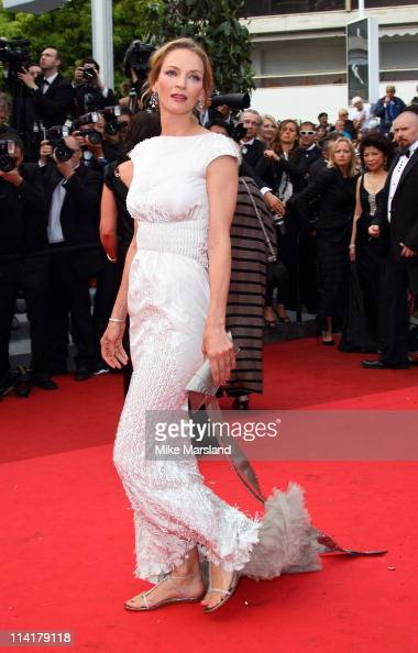 Uma Thurman arrives at the 'Pirates Of The Caribbean On Stranger Tides' Premiere part of the 64th Cannes Film Festival at Palais des Festivals on May...