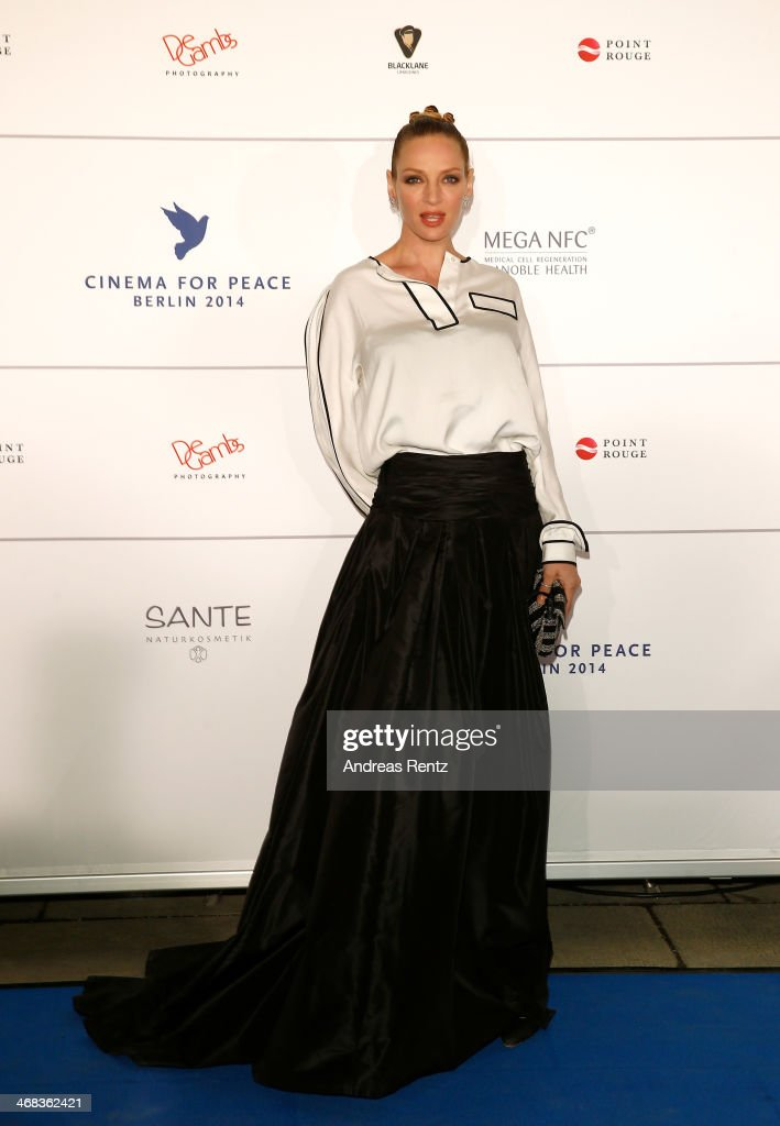 <a gi-track='captionPersonalityLinkClicked' href=/galleries/search?phrase=Uma+Thurman&family=editorial&specificpeople=171973 ng-click='$event.stopPropagation()'>Uma Thurman</a> arrives for the Cinema For Peace 2014 - Gala at Konzerthaus Am Gendarmenmarkt on February 10, 2014 in Berlin, Germany.