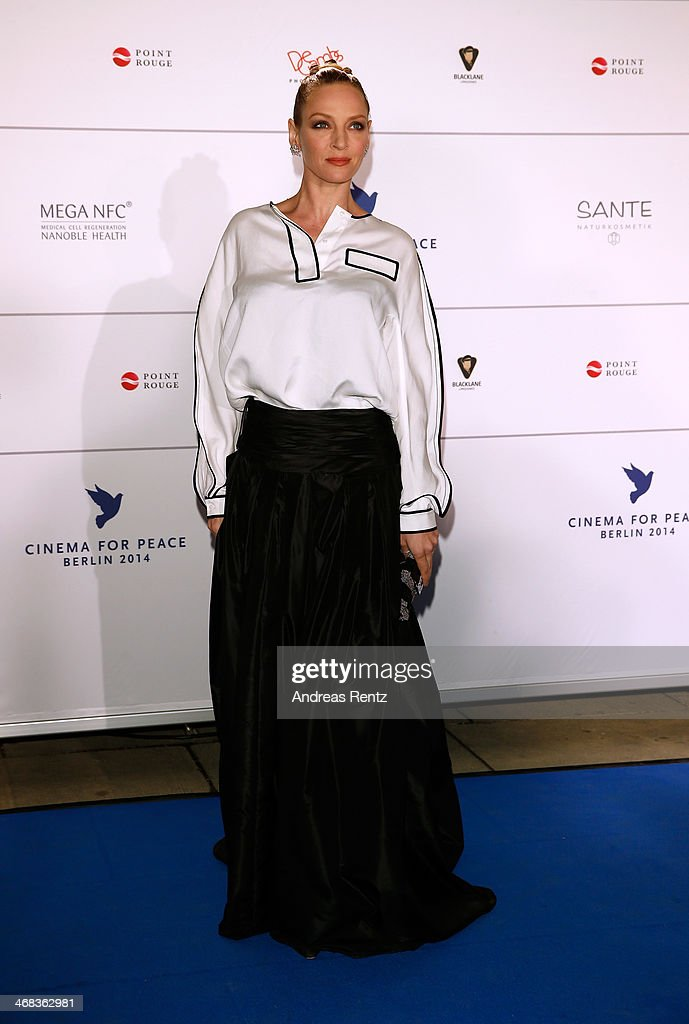 Uma Thurman arrives for the Cinema For Peace 2014 - Gala at Konzerthaus Am Gendarmenmarkt on February 10, 2014 in Berlin, Germany.