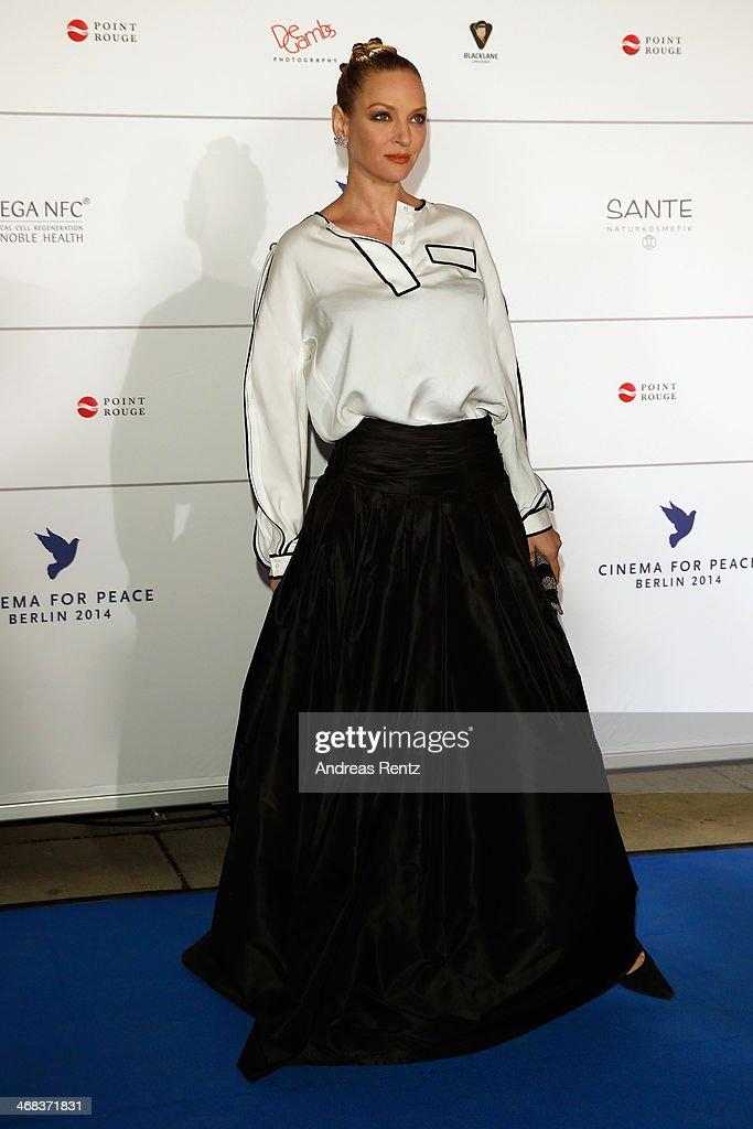 Uma Thurman arrives for the Cinema For Peace 2014 - Gala at Konzerthaus Am Gendarmenmarkt on February 10, 2014 in Berlin, Germany.