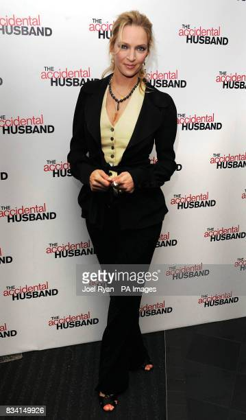 Uma Thurman arrives for the UK premiere of The Accidental Husband at the Vue Cinema in Leicester Square London