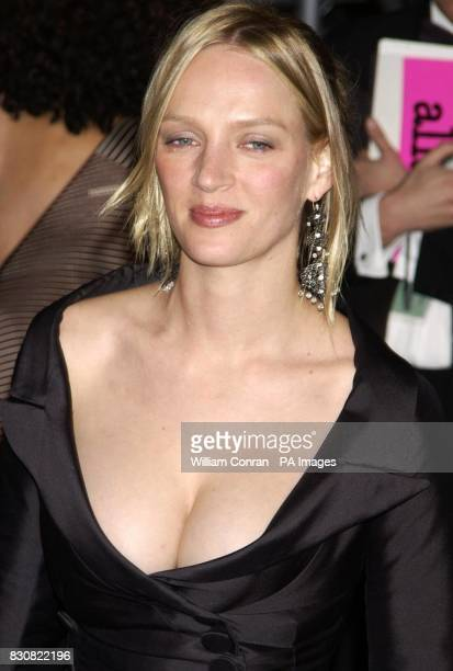 Uma Thurman arriving at the Vanity Fair post Oscars party held at the Morton's restaurant in Los Angeles