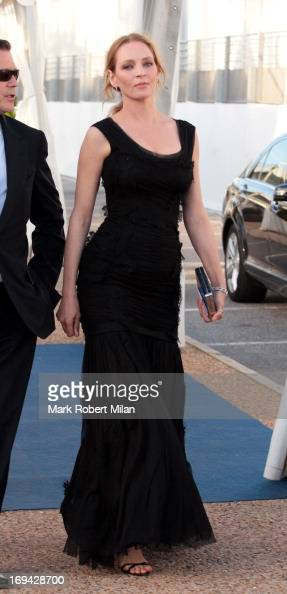 Uma Thurman arriving at the yacht Oasis during the 66th Annual Cannes Film Festival on May 24 2013 in Cannes France