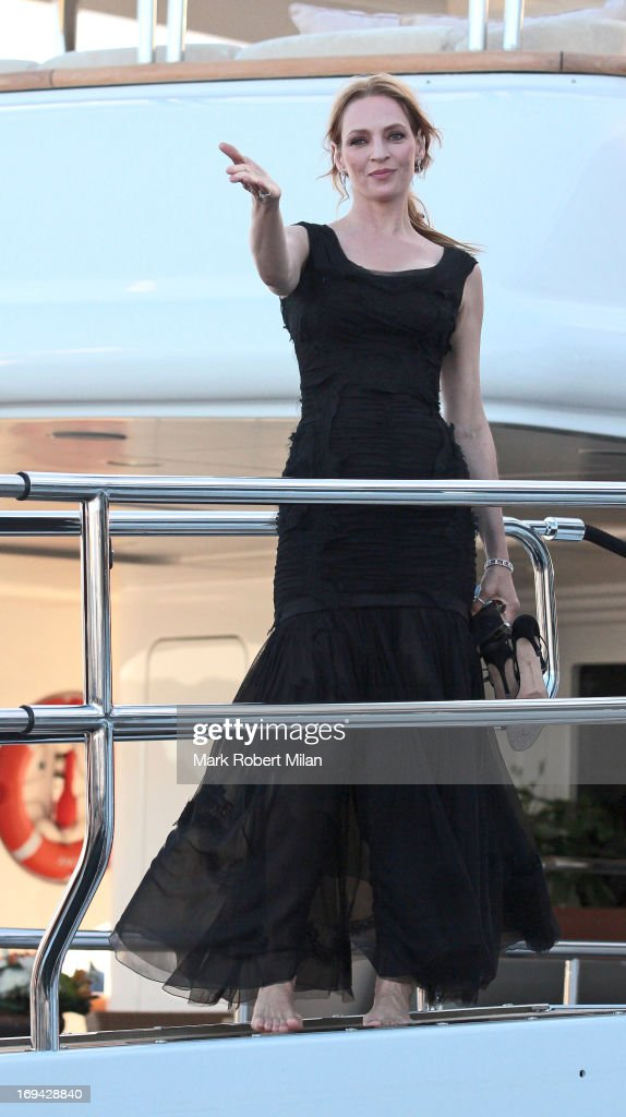 <a gi-track='captionPersonalityLinkClicked' href=/galleries/search?phrase=Uma+Thurman&family=editorial&specificpeople=171973 ng-click='$event.stopPropagation()'>Uma Thurman</a> arriving at the yacht Oasis during the 66th Annual Cannes Film Festival on May 24, 2013 in Cannes, France.