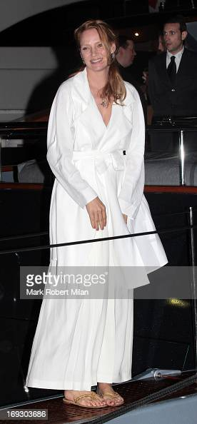 Uma Thurman attending the Roberto Cavalli the Yacht Party during The 66th Annual Cannes Film Festival on May 22 2013 in Cannes France