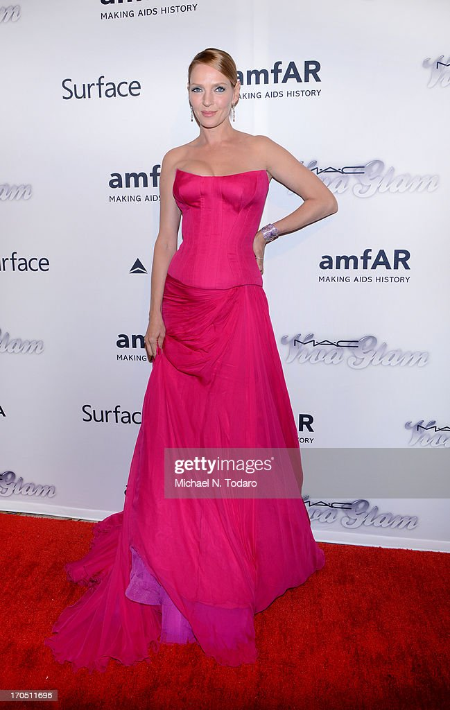 Uma Thurman attends the 4th Annual amfAR Inspiration Gala New York at The Plaza Hotel on June 13, 2013 in New York City.
