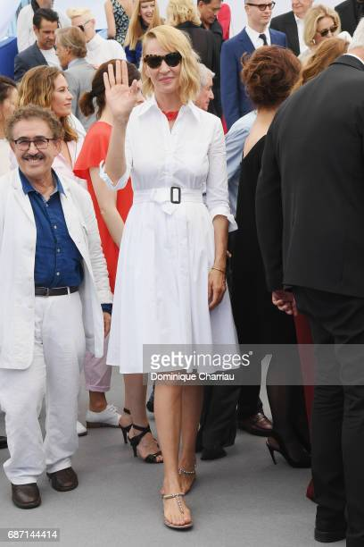 Uma Thurman attends the 70th Anniversary Photocall during the 70th annual Cannes Film Festival at Palais des Festivals on May 23 2017 in Cannes France